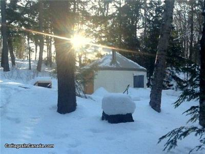 Private Off-Grid Lakefront Yurt c\w Algonquin Pass & Snowshoes!